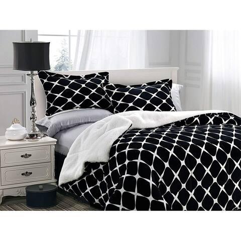 Elegant Comfort 3-Piece Bloomingdale Pattern Sherpa-Backing Reversible Comforter Set