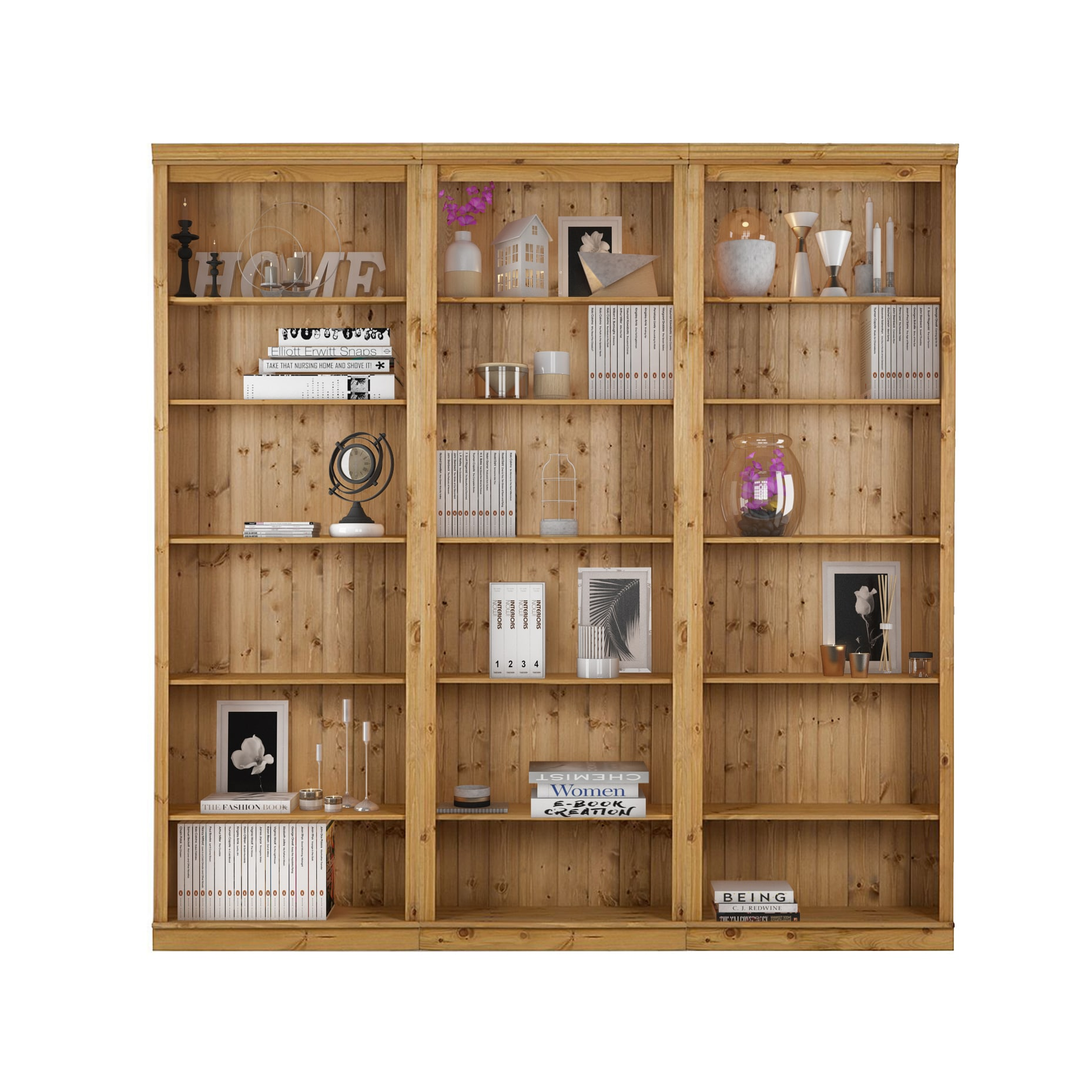 Annabelle 3 Piece 86 Inch Tall Shelving Unit Solid Pine