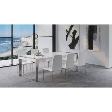 "B-Modern Savant Modern Matte White & Stainless Steel Dining Table - 90.5""W x 41.25""D x 29.5"" H"