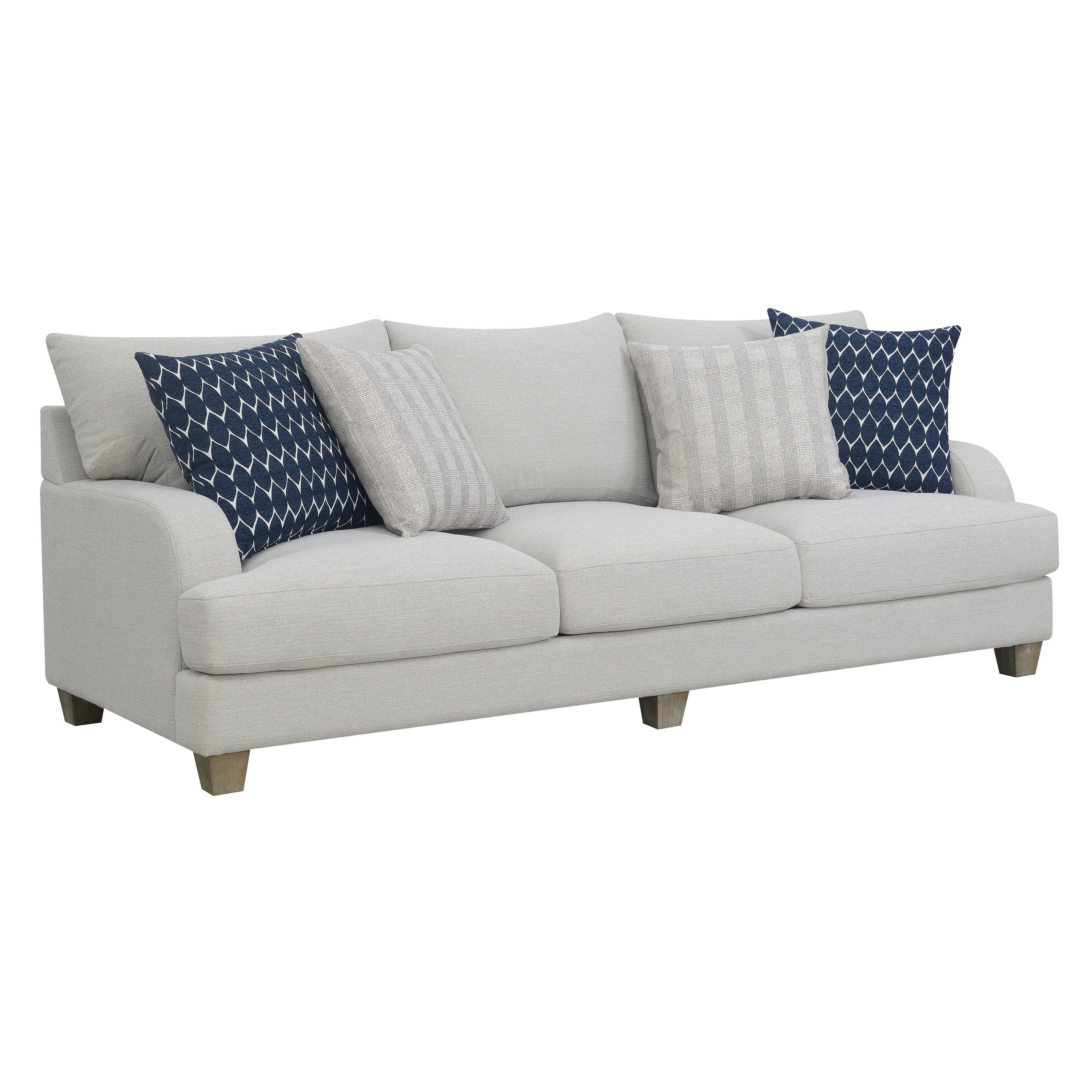Emerald Home Laney Harbor Gray 102 Sofa With Pillows Modern English Roll Arm And Loose Seat Back Cushions