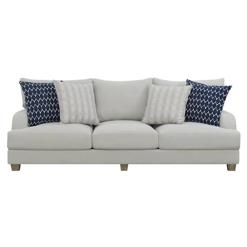 """Emerald Home Laney Harbor Gray 102"""" Sofa, with Pillows, Modern English Roll Arm And Loose Seat And Back Cushions"""
