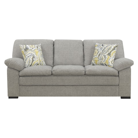 Emerald Home Grandview Pebbled Gray 89.37-inch Sofa with Pillows, Deep Seating and Pillowtop Arms