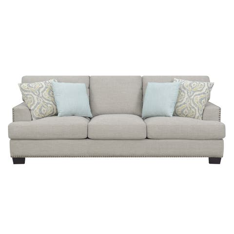 """Emerald Home Kinsley Driftwood 91.5"""" Sofa, with Pillows, Square Arms And Nailhead Trim"""