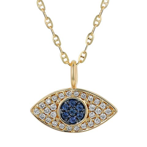 14K Yellow Gold 1/7ct. TW Blue Sapphire and Diamond Evil Eye Necklace by Beverly Hills Charm