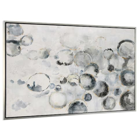 Effervescence Hand Painted Canvas - Blue/GOLD/White