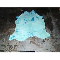 "Real Aqua Blue Cowhide Rug - 6.6 feet x 7.2 feet/79"" x 87"""