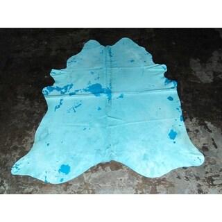 """Real Blue Cowhide - 6.3 feet x 7.5 feet/76"""" x 90"""""""