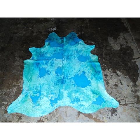 "Aqua Blue Cowhide - 6.4 feet x 7.3 feet/77"" x 88"" - 6.4 feet x 7.3 feet/77"" x 88"""