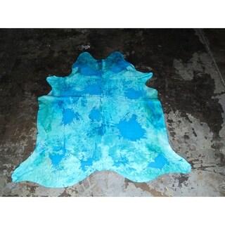 """Aqua Blue Cowhide - 6.4 feet x 7.3 feet/77"""" x 88"""""""