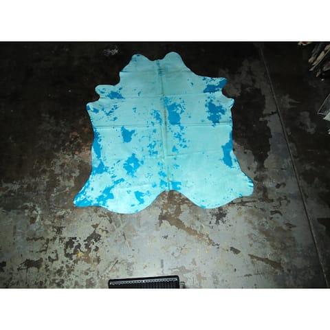 """Real Blue Cowhide Rug - 6.1 feet x 7.2 feet/73"""" x 87"""" - 6.1 feet x 7.2 feet/73"""" x 87"""""""