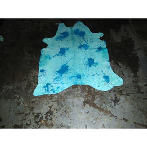"""Natural Aqua Blue Cowhide Rug - 72"""" x 86""""/6 feet x 7.2 feet - 72"""" x 86""""/6 feet x 7.2 feet"""