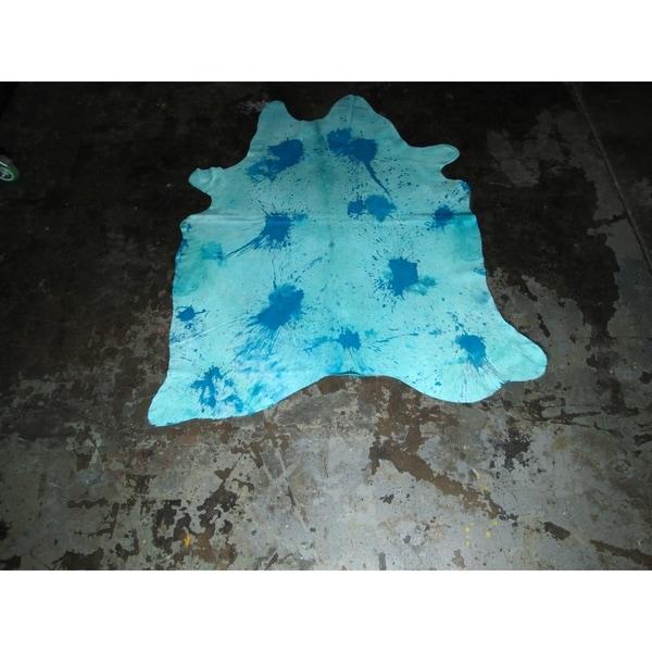 """Natural Aqua Blue Cowhide Rug - 72"""" x 86""""/6 feet x 7.2 feet - 72"""" x 86""""/6 feet x 7.2 feet. Opens flyout."""
