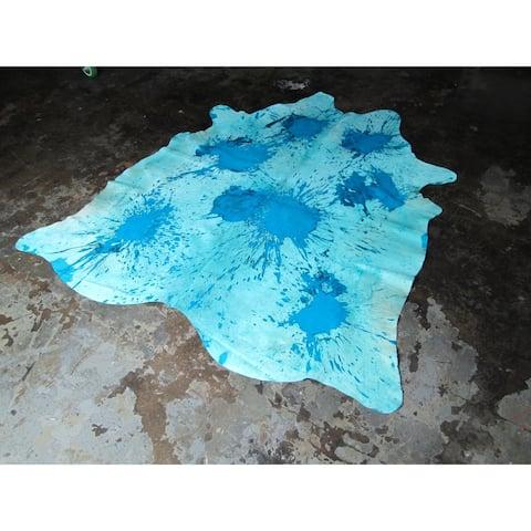 """Aqua Blue Cowhide Rug - 6.2 feet x 6.9 feet/74"""" x 83"""" - 6.2 feet x 6.9 feet/74"""" x 83"""""""