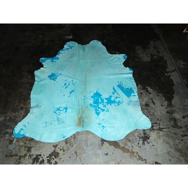 "Blue Cowhide - 6.6 feet x 7.3 feet/79"" x 88"" - 6.6 feet x 7.3 feet/79"" x 88"". Opens flyout."