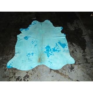 """Blue Cowhide - 6.6 feet x 7.3 feet/79"""" x 88"""""""