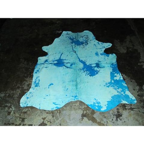"""Natural Blue Cowhide - 82"""" x 90""""/6.8 feet x 7.5 feet - 82"""" x 90""""/6.8 feet x 7.5 feet"""