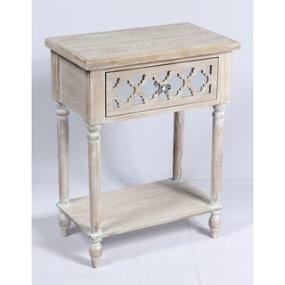 Emerald Home Canterwood Whitewash and Mirror Accent Table