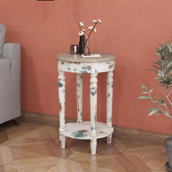 Emerald Home Saxon Weathered Round Accent Table