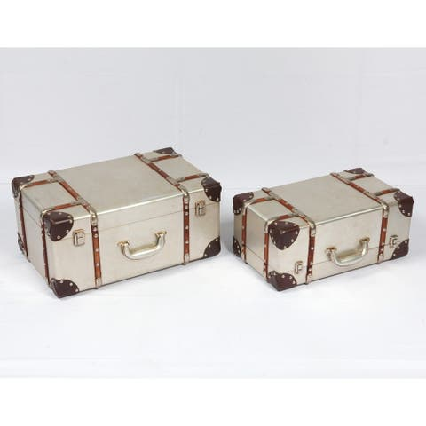 Emerald Home Tan Aluminum Finish 2 PC Accent Table Trunk Set
