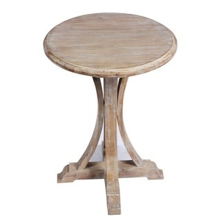 Emerald Home Addison Aged Whitewash Round Accent Table