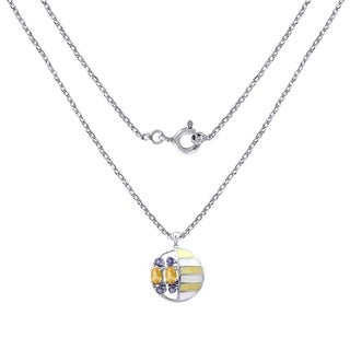 Sterling Silver 3.30 CTS MOP,Citrine & Iolite Fancy Shape Pendant By Orchid Jewelry