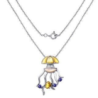 2.75 Cts MOP,Citrine & Iolite Sterling Silver Pendant For Women By Orchid Jewelry