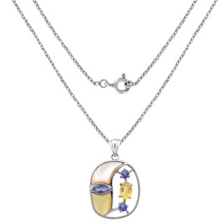 1.45 CTW Mother of Pearl,Iolite & Citrine Sterling Silver Fancy Shape Pendant For Women
