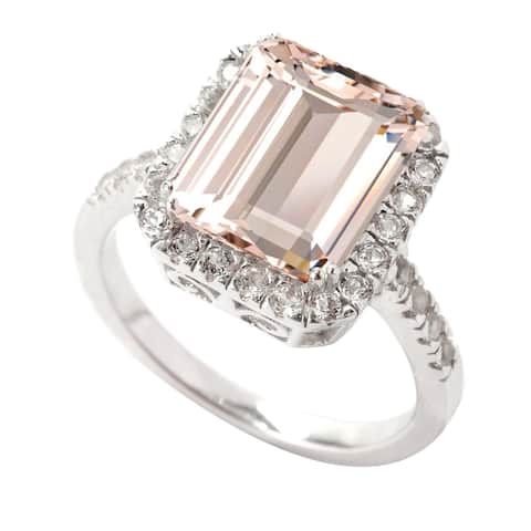 Sterling Silver with Morganite and Natural White Topaz Emerald Cut Halo Ring