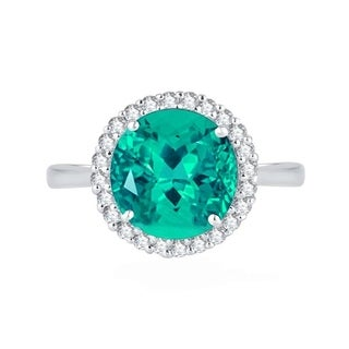 Sterling Silver With Natural Paraiba Tourmaline In Round Shape And Natural White Topaz In Round Shape Halo Anniversary Ring