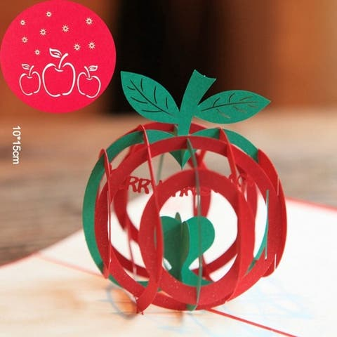 Christmas Apple Card 3D Pop Up Handmade Holiday Greeting Cards Postcards - Red