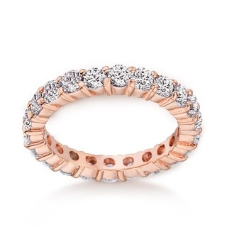 Eternity Band Wedding Ring in Rose Gold & Rhodium Plating, 3mm