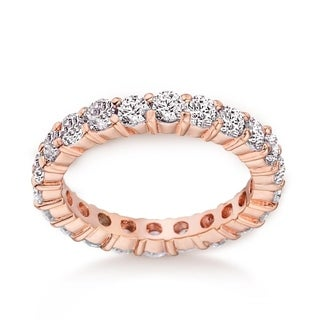 2.42ctw CZ 3mm Eternity Wedding Band Ring in Rose Gold Rhodium Plating