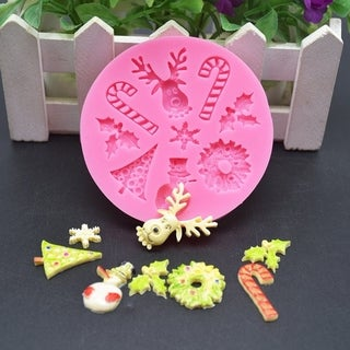 Safe Christmas Party Decoration Cake Mold DIY Kitchen Chocolate Sugar Mold - PInk
