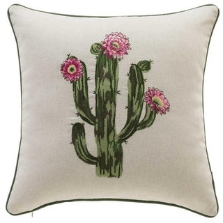 Cactus Embroidery Throw Pillow