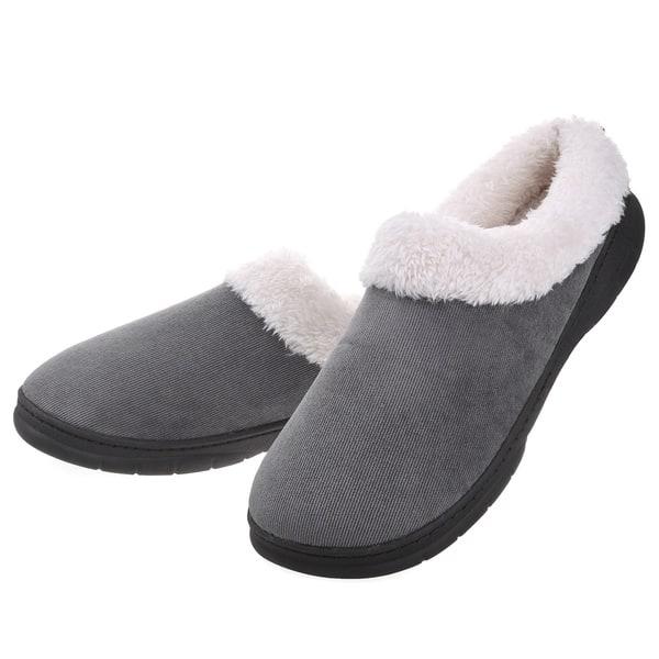 cf605176f258d Men Memory Foam Faux Fur House Shoes - Fleece Plush Lining Slip on Clog  Slippers Indoor