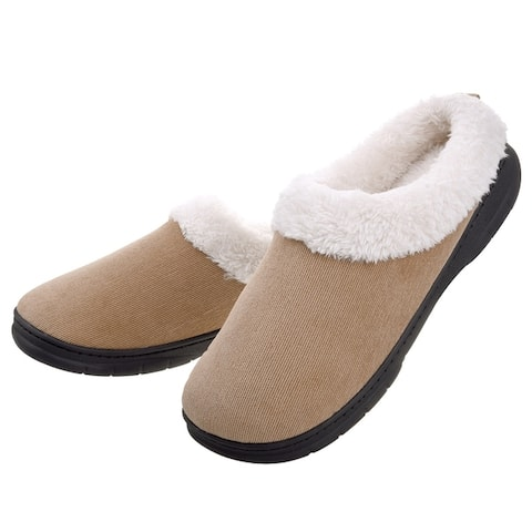 VONMAY Men's Fleece Plush Lining Slip on Slippers Indoor/Outdoor House Shoes