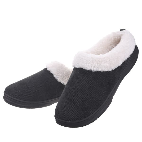 ec43ce84d62296 Men Memory Foam Faux Fur House Shoes Fleece Plush Lining Slip