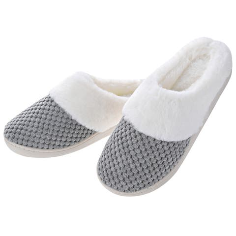 Women Comfort Fuzzy Plush Lining Memory Foam Slippers - Winter Warm Indoor/Outdoor Slip on Clogs