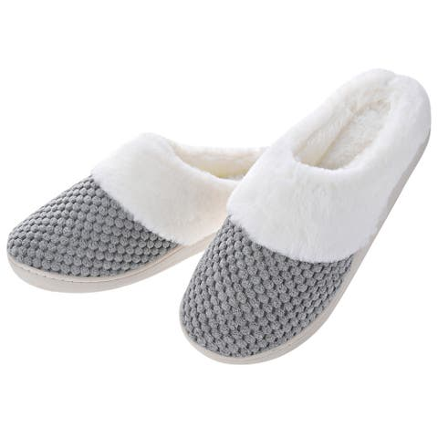 Women Comfort Fuzzy Plush Lining Memory Foam Slippers - Winter Warm Indoor/Outdoor Slip on Clogs