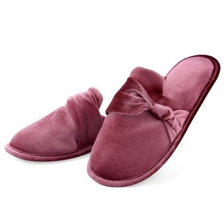 Dasein Women's Soft Velvet Memory Foam Indoor Slippers with Bow - Anti Skid Sole Lightweight Slip on House Shoes