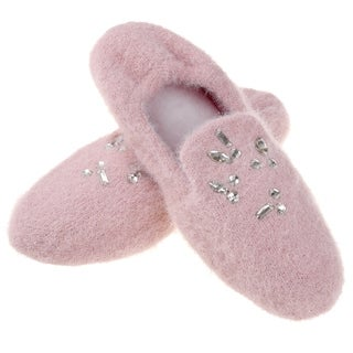 Dasein Women's Elegant Soft Cashmere Knitted Ballerina Slippers - Rhinestone Detailed Memory Foam Cozy Indoor Footwear