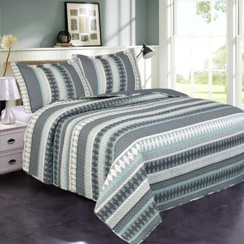 3-Piece Printed Reversible Bedding Quilt Set- King