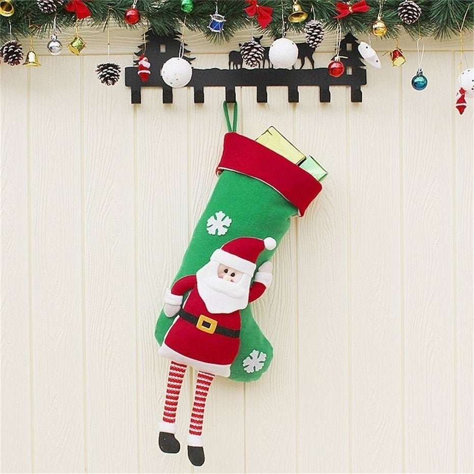 Pull Flannel Christmas Stocking Socks Lovely Hanging Ornament Decoration 50cm Santa Claus