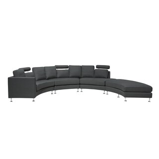 Curved Sectional Sofa Gray Fabric ROTUNDE