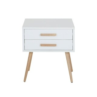 Bedside table - with drawers - white - ALABAMA