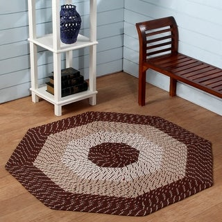 Country Braided Rug 4 Octagon Brown Stripe