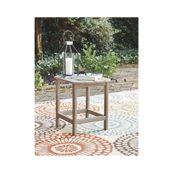 Signature Design by Ashley Sundown Treasure Greyish Brown Plastic Outdoor End Table