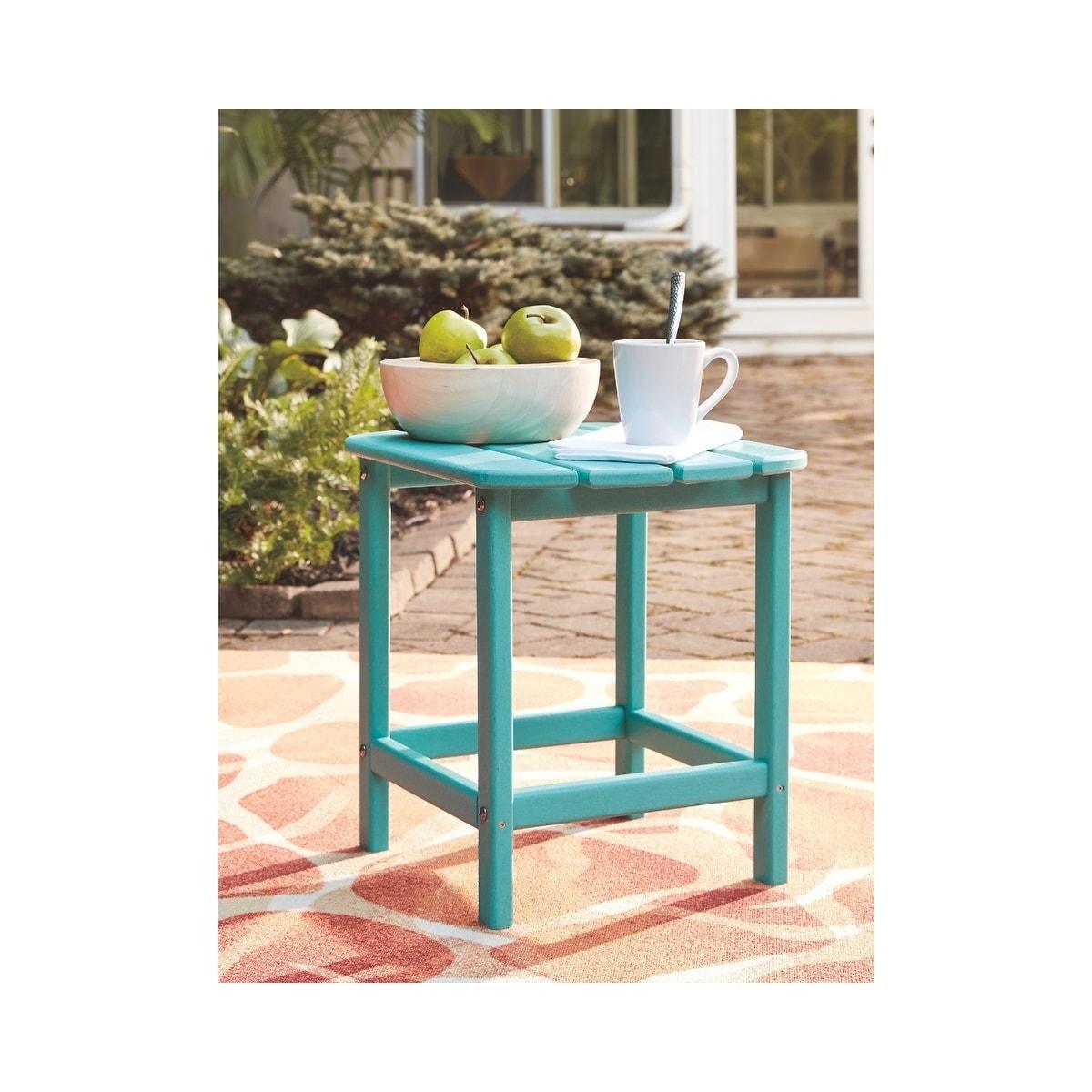 wholesale dealer 0dd5d 366cb Signature Design by Ashley Sundown Treasure Turquoise Outdoor Rectangular  End Table