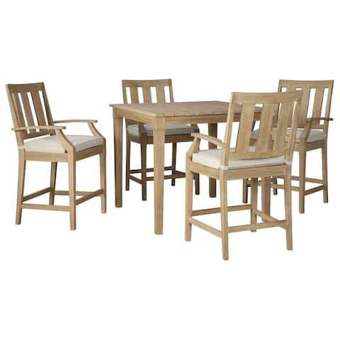 Clare View Outdoor Barstools with Cushion Set of 2 - Beige