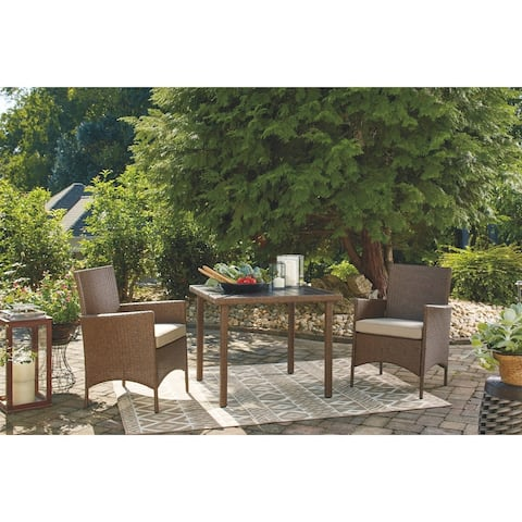 Reedenhurst Outdoor Square Dining Table Set (3/CN) - Brown